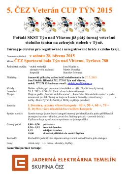 Propozice na ČEZ veterán CUP v Týně n. Vlt.