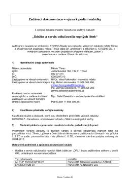 """Zadávací dokumentace – výzva k podání nabídky """"Údržba a servis"""