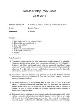 Zasedání kolejní rady Budeč 23. 9. 2015