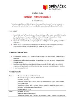 Sylabus kurzu NĚMČINA – MÍRNĚ POKROČILÍ II.