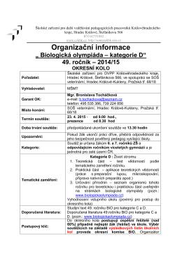 olympiády kategorie D - Střední odborná škola veterinární Hradec