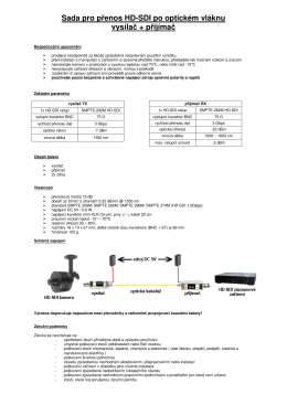 Sada pro přenos HD-SDI po optickém vláknu vysílač + přijímač