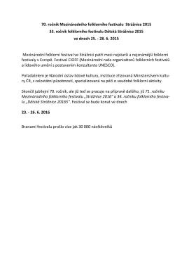 Tisková zpráva 70. ročníku MFF Strážnice 2015