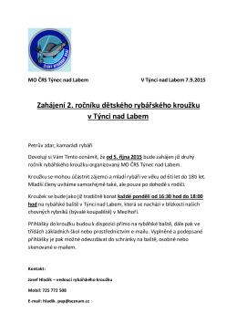 Zahájení 2. ročníku dětského rybářského kroužku v Týnci nad Labem