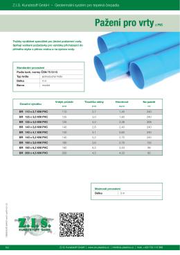 Pažení pro vrtyz PVC