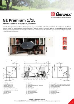 GE Premium 1/1L Aktivní a pasivní rekuperace, chlazení