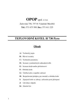 TEPLOVODNÍ KOTEL H 730 Pyro Obsah - A-top