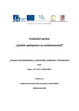 """Evaluační zpráva """"Systém spolupráce se zaměstnavateli"""""""