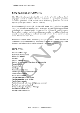 KURZ KLINICKÉ NATUROPATIE - Česká naturopatická společnost