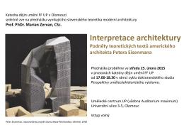 Přednáška - Interpretace architektury