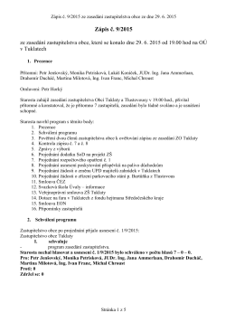 Zápis č. 9/2015 ze zasedání zastupitelstva obce, které se