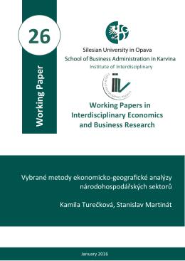 Working Paper - Institut interdisciplinárního výzkumu