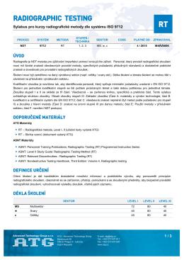 Sylabus kurzu RT podle kvalifikačního systému ISO 9712