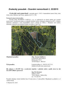 Znalecký posudek - Ocenění nemovitosti č. 23/2015