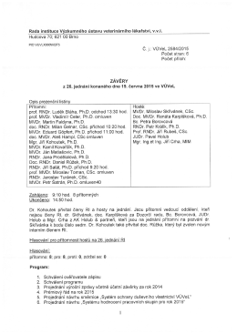 Rada instituce Výzkumného ústavu veterinárního lékařství, v.v.i.