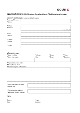 Reklamační protokol - koncový zákazník