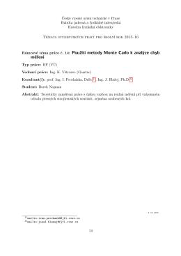 Použití metody Monte Carlo k analýze chyb měření