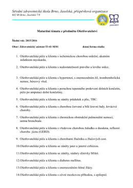 Maturitní témata z předmětu Ošetřovatelství 2015/2016