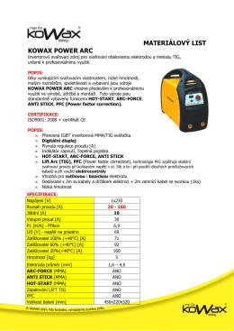 Materiálový list INVERTOR KOWAX POWER ARC 160