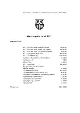 Návrh rozpočtu na rok 2015