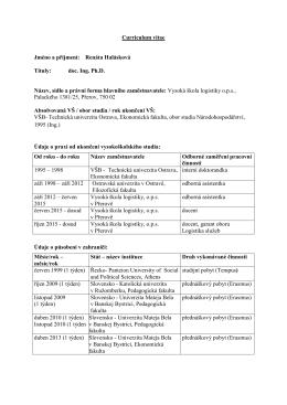 Curriculum Vitae - Vysoká škola logistiky ops