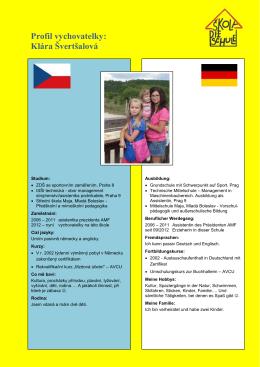 Profil vychovatelky: Klára Švertšalová