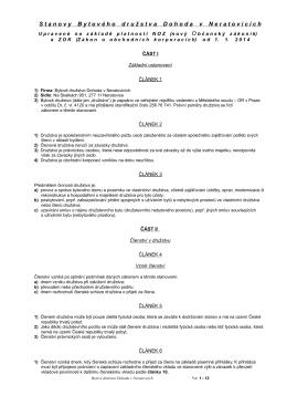 Návrh nových stanov - Bytové družstvo Dohoda v Neratovicích