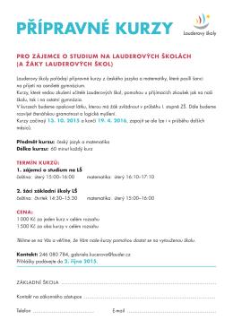 Přípravné kurzy 2015/2016