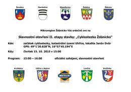 """Slavnostní otevření II. etapy stavby: """"Cyklostezka Ždánicko"""""""