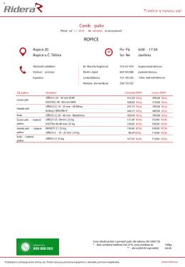Ceník paliv v PDF