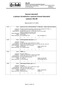 Seznam laboratoří s platným osvědčením 2016