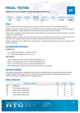 Sylabus kurzu VT podle kvalifikačního systému ISO 9712