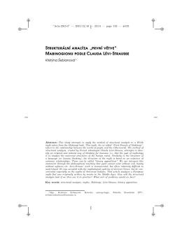 """Strukturální analýza """"první větve"""" Mabinogionu podle Clauda Lévi"""