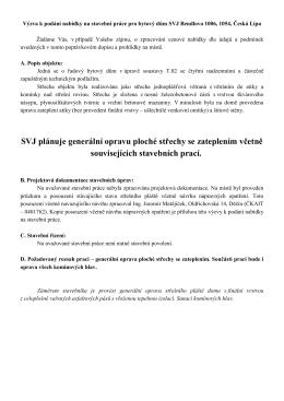 Popis objektu a stavebních prací – Bardějovská 2548 – 2549