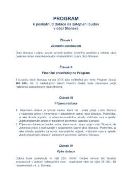 Program - dotace na zateplení