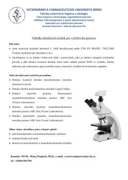 Nabídka analýz - Fakulta veterinární hygieny a ekologie