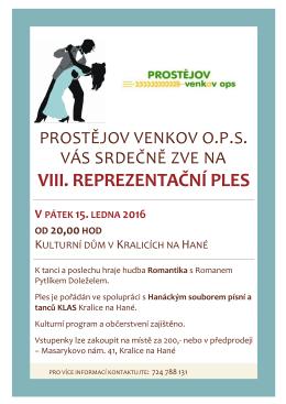 Pozvánka na VIII. reprezentační ples Prostějov venkov o.p.s.