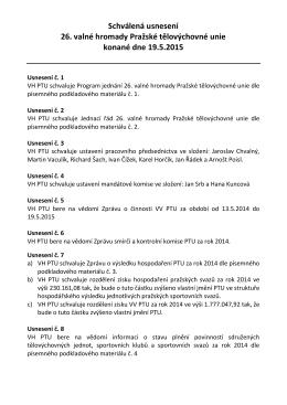 Usnesení 26. valné hromady PTU