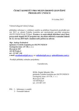 český komitét pro mezinárodní geovědní programy unesco