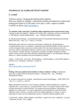 INFORMACE ZE ZAHRANIČNÍCH ČASOPISŮ Č. 12/2015 Výběrová