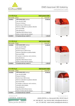 DWS laserové 3D tiskárny - Janda