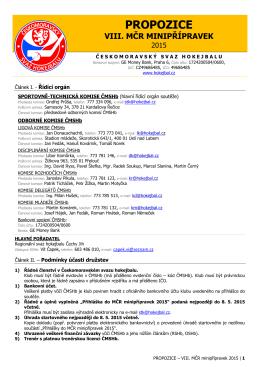 PROPOZICE – VIII. MČR minipřípravek 2015