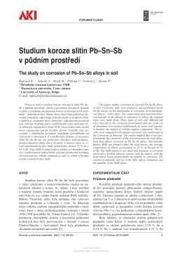 Studium koroze slitin Pb–Sn–Sb v půdním prostředí