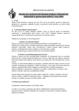Zásady pro poskytování finanční podpory 2015