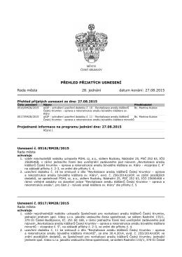 usnesení - Jednání Rady města Český Krumlov