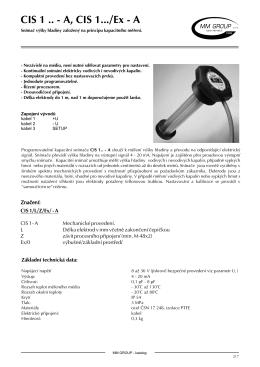 Jiskrově bezpečný kapacitní snímač hladiny CIS 1 A