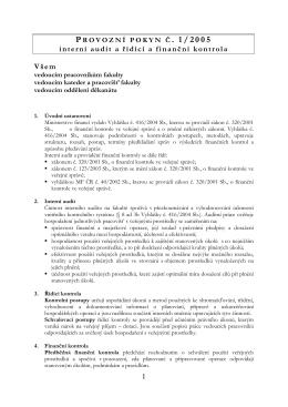 Provozní pokyn č. 1/2005