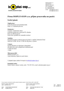 Inzerát-Firma ISOPLUS přijme - ISOPLUS