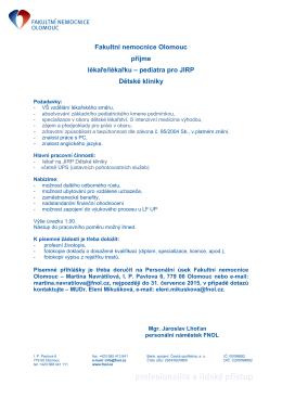 Fakultní nemocnice Olomouc přijme lékaře/lékařku – pediatra pro