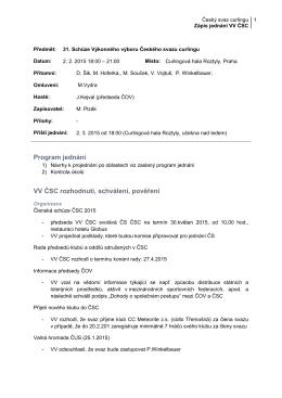 zápis z jednání vv čsc č.31 ze dne 2.2.2015